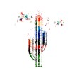 Colorful vector cactus background with hummingbirds