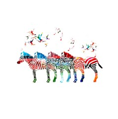 Colorful vector zebra background with hummingbirds