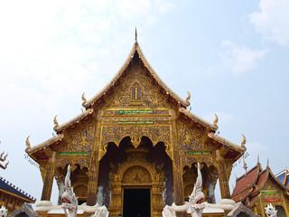 A golden buddhist monastery in Wat Baan Den in Chiang Mai, Thail