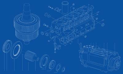 Complicated engineering drawing of car engine sections