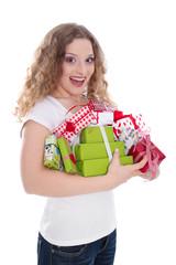 18. Geburtstag eines Mädchen - isoliert mit Geschenke