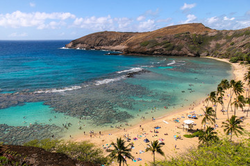 Hanauma Bay in Oahu, Hawaii. Formed in a volcanic crater