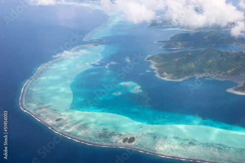 Coastline of Taha'a, French Polynesia, surrounded by coral reefs