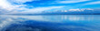 Leinwandbild Motiv Sunset blue panoramic landscape. Lagoon, Argentario, Italy.