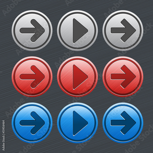 color glossy buttons with arrows