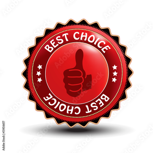 vector best choice guaranteed label with gesture hand