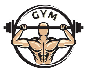 gym label (gym symbol, gym sign, arm showing muscles and power)