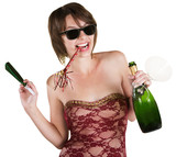 Party Girl with Wine Bottle