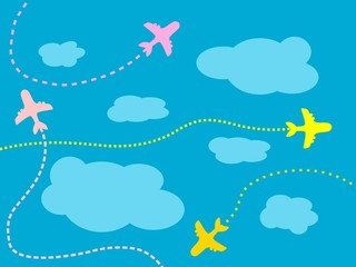 Airlines background - clouds and aircraft