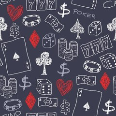 Gambling background - casino icons - vector illustration