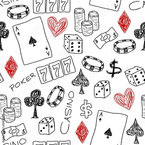 Casino background doodle - vector illustration