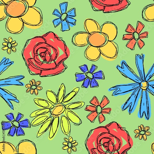 Tuinposter Abstract bloemen Floral background - vector illustration