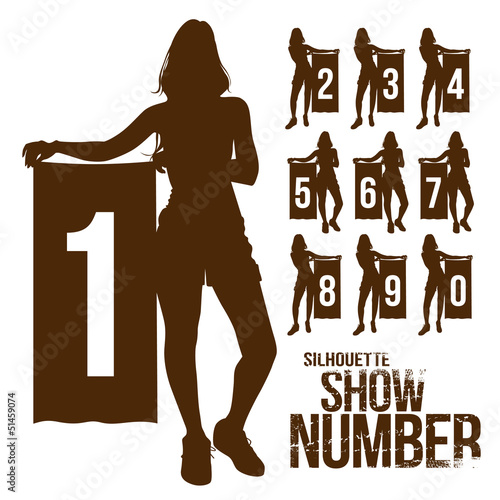 Silhouette woman show number, vector