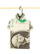 Dollar folded into shirt on hanger isolated on white