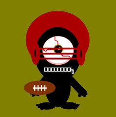 creature with large eye playing american football