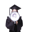 woman graduate student happy with megaphone