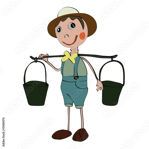 longneck gardener doll isolated