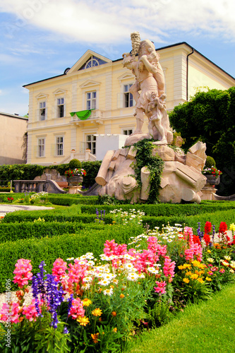 Colorful gardens of Mirabell Palace, Salzburg, Austria