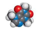 Caffeine molecule space-fill model - C8H10N4O2 poster