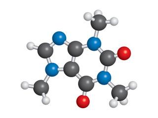 Caffeine molecule ball and stick model - C8H10N4O2