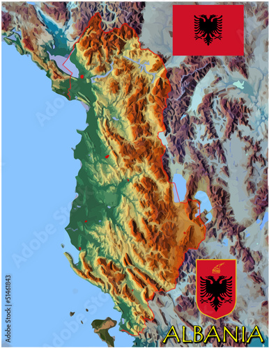 Albania Europe national emblem map symbol motto