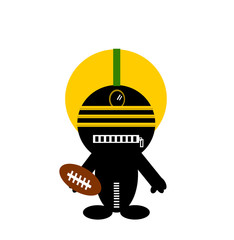 funny character playing american football
