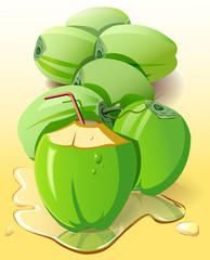 A bunch of tender coconut - vector