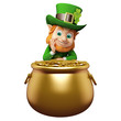 Leprechaun for st patrick's day sitting near golden pot