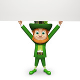 Leprechaun for st patrick's day holding big white sign
