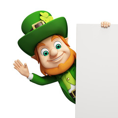 Leprechaun for st patrick's day stands behind white sign