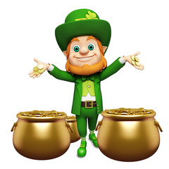 Leprechaun for st patrick's day with golden coins and pots