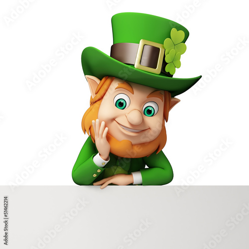Leprechaun for st patrick's day sitting near big sign