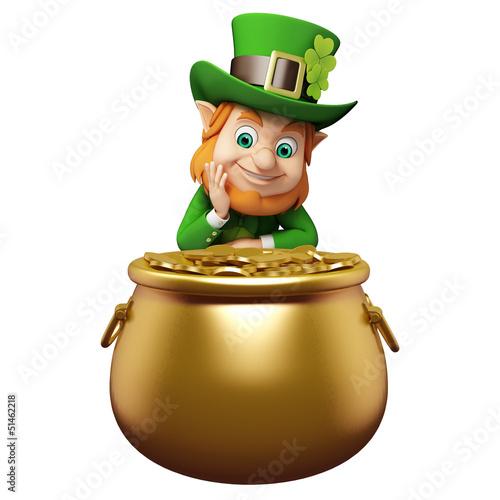 Leprechaun for st patrick's day sitting near golden pot