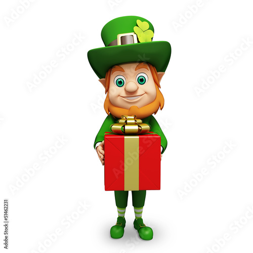 Leprechaun for st patrick's day with big red gift box