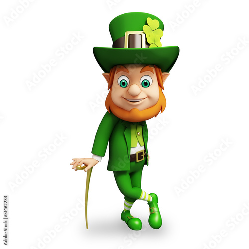 Leprechaun for st patrick's day with stick on white background