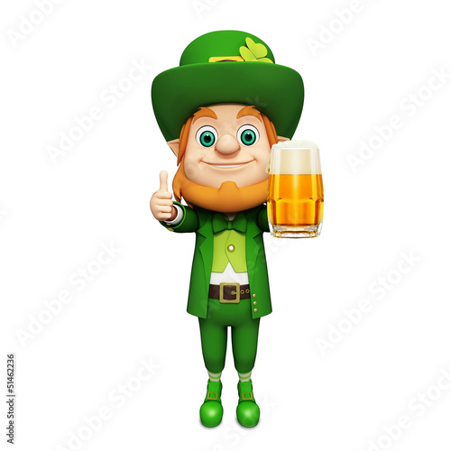 Leprechaun for st patrick's day standing with big beer glass