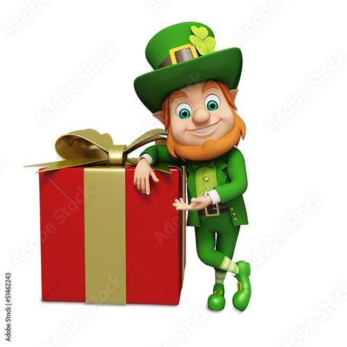 Leprechaun for st patrick's day standing besides big gift box
