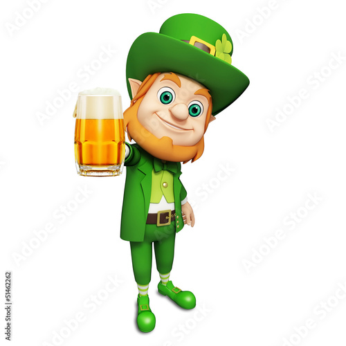 Leprechaun for st patrick's day with big beer glass