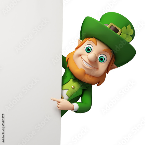 Leprechaun for st patrick's day behind big sign