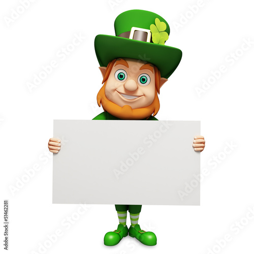 Leprechaun for st patrick's day holding big sign