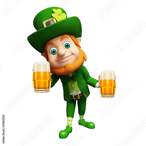 Leprechaun for st patrick's day with beer glass