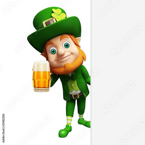 Leprechaun for st patrick's day with beer glass and sign