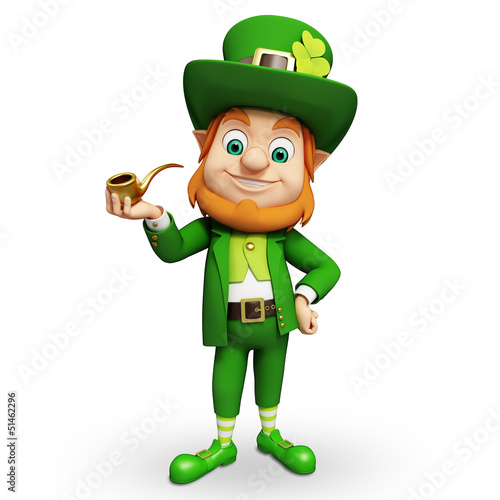 Leprechaun for st patrick's day standing on white background