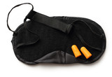 Black sleeping mask and earplugs