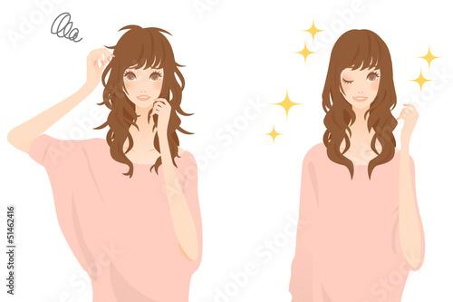 髪がきれいになる女性