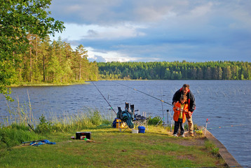 Papa lernt mir angeln