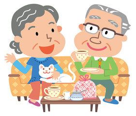 シニア 夫婦 お茶の時間
