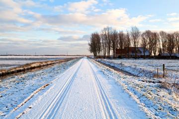 Dutch farmhouse in snowy winter