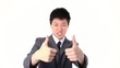 Asian young businessman showing thumbs up