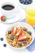 breakfast with homemade granola and fresh berries, orange juice